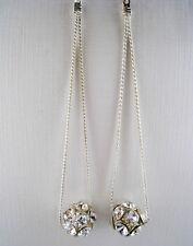 Rhinestone Bead Chain Earrings Vintage Style Dangling Silvertone Crystal