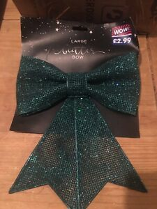 large Green Glitter christmas bow