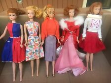 Lot 5 Vintage 1960's Barbie Dolls 3 And Midge Dolls 2 w/ Outfits Very Good Cond