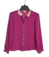 RD2 Vintage 80's - S - Magenta Doily Lace Collar - Semi-Sheer L/S Blouse Top