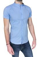 Camicia uomo casual celeste coreana slim fit aderente in cotone da S a XXL