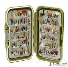 Waterproof Fly Box + Mixed Trout Flies Wet Dry Nymphs Buzzers for Fly Fishing