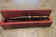 Beautiful Orange Black Flake WATERMAN 18K 750 Tip Ink Pen in Original Wood Box