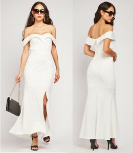 Ex-Branded Ladies White Wedding Prom Dress Off Shoulder Maxi Bardot Dress Sizes