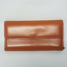 Lodis Full Size Leather Checkbook Clutch Wallet Toffee Camel Red Lining