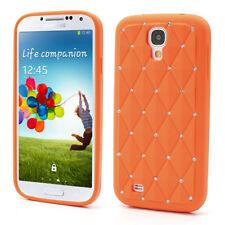 Samsung Galaxy S4 Silikon Case Glitzer Bling Rhombus Schutz Hülle Cover Orange