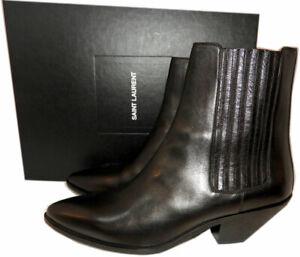 Ysl Saint Laurent West Chelsea Ankle Boots Riding Booties 40 Cowboy Western