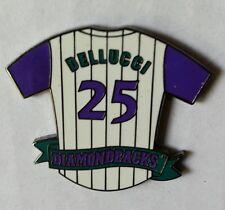 David Dellucci (25) AZ DIAMONDBACKS Purple Sleeve Pinstripe Baseball Jersey Pin