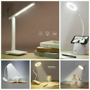 Flexible USB LED Reading Light Rechargeable Dimmable Bedside Desk top Table Lamp