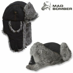 Mad Bomber Supplex Bomber Hat (M)- Blk/Gry Faux Fur