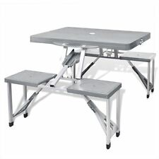 Patio Outdoor Gray Foldable Portable Camping Table Picnic Dining Set Aluminum