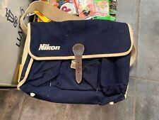 Nikon Camera Vintage Canvas Bag - 1980s Camera Bag Blue