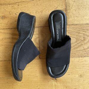 Vintage 90s Y2K No Boundaries Chunky Platform Wedge Slides Black Shoes Size 6 M