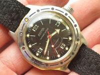 Vintage soviet VOSTOK AMPHIBIAN Divers watch Military BLACK Dial *USSR / CCCP*