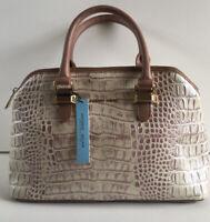 Antonio Melani Tote Large Leather Dusty Croco Women Handbag (Nude) Purse