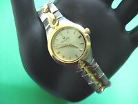 BULOVA 98L137 LADIES CASUAL WATCH S/S & GOLD PL GOLD DIAL ANALOG EASY TO READ