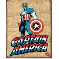 Captain America Super Hero Marvel Retro Weathered Wall Decor  Metal Tin Sign New