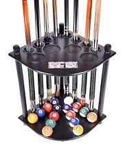 Black Pool Table Rack Supplies Cue Balls Stick Holder Chalk Billiards Stand Wood