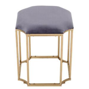 Velvet Dressing Table Chair Vanity Stool Bedroom Makeup Piano Seat Metal Base