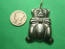STERLING SILVER Super Cute Vintage Large Puffy Teddy Bear Pendant AWESOME FIND