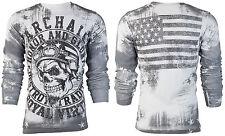 Archaic AFFLICTION Men THERMAL Shirt RACER American Customs USA FLAG Biker $58 b