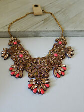 NECKLACE ANTHROPOLOGIE STATEMENT PINK GOLD RHINESTONE BEAD TAG NEW SOLD OUT $148