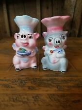 Vintage salt and pepper shakers 1700 Chef Pigs Japan