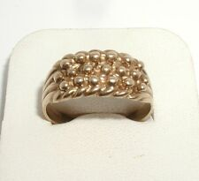 """9ct Yellow Gold 3-Row Keeper Ring"" Heavy 5.5g"