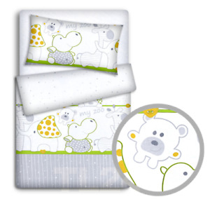 BABY BEDDING SET 120x90 PILLOWCASE DUVET COVER 2PC FIT COT 120x60 ZOO GREEN