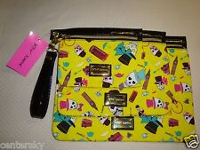 New Betsey Johnson 3 Pc Pouch Travel Cosmetic Make-Up Bag BRC1855 English Skulls