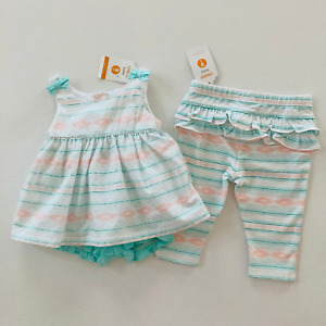 Gymboree Baby Girl 3-6 Months Top Bloomers Leggings Set Outfit Mint Green White