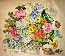 Vintage Finished Completed Crewel Stitch Floral Still Life on Linen