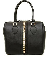 Kensie Front Studded Satchel Hand Bag Black