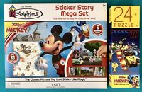 MICKEY MOUSE Colorforms 80+ Sticker Story Mega Set & 24 Piece Jigsaw Puzzle-NEW