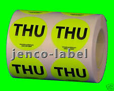 "DW1004Y, 500 1"" dia Thursday Days of The Week Labels"