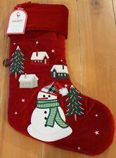 New Pottery Barn Kids Luxe Velvet Snowman & Houses Christmas Holiday Stocking