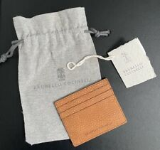Brunello Cucinelli Credit Card Case Brown/Tan Grained Nubuck Leather Italy $445