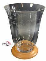 "Longaberger Etched Clear Glass 10"" Hurricane Vase Candle Holder # 90091 - EUC"