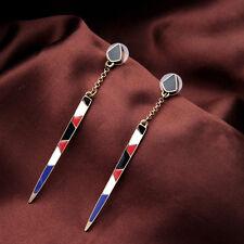 Boucles d'Oreilles Clous Long Fil Email Bleu Rouge Blanc Noir Art Deco Fin CC 8
