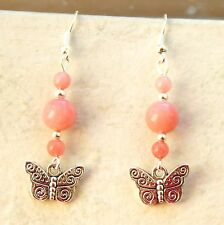 Butterfly Earrings with Rhodochrosite Beads and Sterling Silver Hooks New LB340
