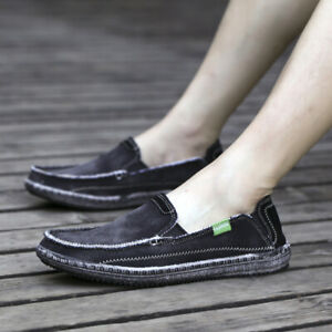 Fashion Mens Canvas Boat Shoes Slip On Flat Casual Light Loafer Pumps Plus Size
