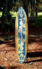 Vintage Style Blue 6 foot Longboard Wood Surfboard FL Tropical Home Beach Decor