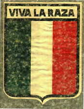 Vintage 70s iron on tee shirt transfer full size NOS VIVA LA RAZA SHIELD