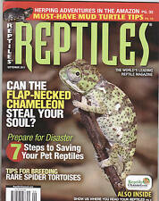 REPTILES MAGAZINE...SEPTEMBER, 2011..FLAP NECKED CHAMELEON..SPIDER TORTOISES...