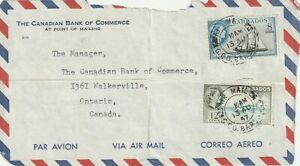 1957 Barbados freefront cover sent from GPO Barbados to Walkerville Canada(bent)