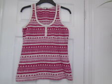 Raspberry dark pink and white nordic pattern sleeveless top, FAT FACE, size 12