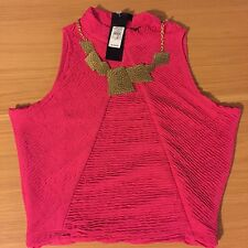 BNWT river Island Pink Cropped Top With Gold Necklace Size 10