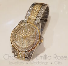 Watch Fully Iced Out Mens Silver & Gold Shiny Bling Ice Diamond Shine Time Piece