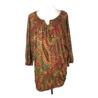 LAUREN Ralph Lauren Plus Size 2X Blouse Jersey Knit Paisley Green Red Teal
