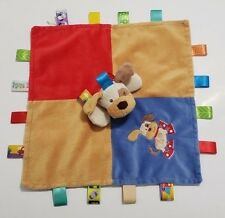 Meyer Baby Taggies Plush Dog Security Blanket w/ Tags Blue Red Satin Back EUC